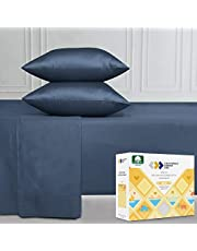 Double Size Sheet Set - 400 Thread Count 100% Long Staple Combed Cotton, Soft and Silky Sateen Weave Sheets for Boys, Indigo Navy Blue 4 Piece Bedding