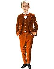 Sxfashbrd Boys Velvet Suit 3 Pieces Blazer Vest Pants Set Tuxedos Slim Fit Formal Outerwear Jacket Coats