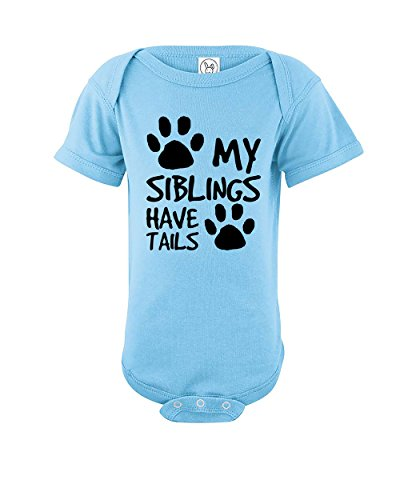 Esti's Baby Couture My Siblings Have Tails | Funny Baby Girl Boy Unisex One Piece Infant Novelty Bodysuit | Light Blue | 6-12 Months