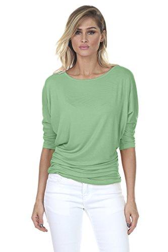 Green 3/4 Sleeve Top - iliad USA iliadusa 7001 Womens Round Neck Dolman Top 3/4 Sleeve Side Shirring Sage Large