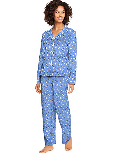 - Hanes Womens Knit Notched Collar PJ Set (HAC80116) -Holiday Bi -M