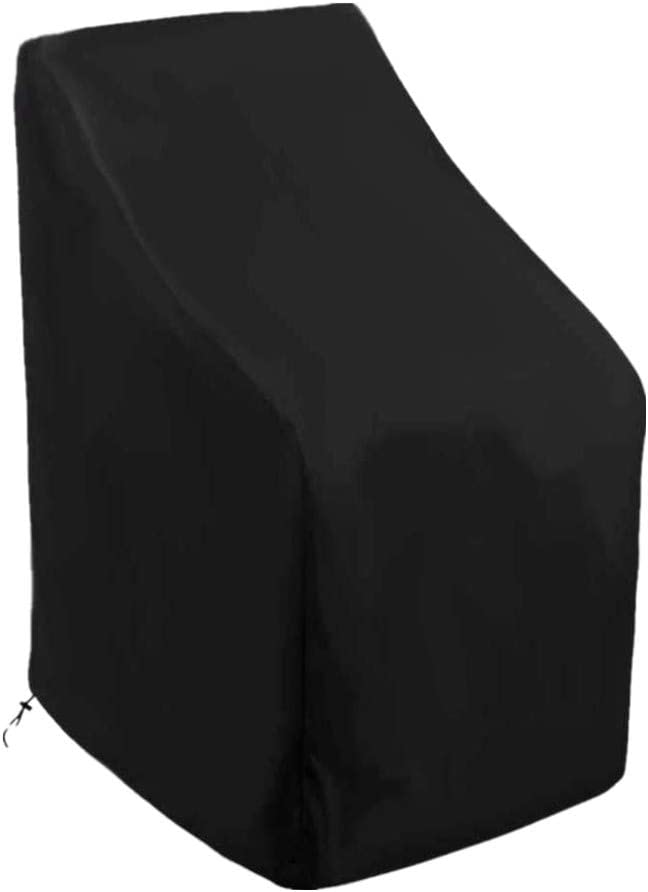 skyfiree Stacking Patio Chair Cover 35x35x47/35 inch Barstool Covers Waterproof Durable Outdoor Furniture Cover Stackable Patio Chairs Highback Chair Cover Protector Black