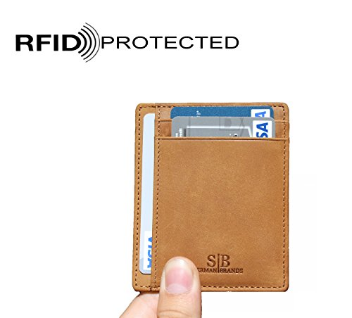 SERMAN BRANDS - Credit Card Holder RFID Blocking Leather Slim Wallet, Minimalist Front Pocket Wallets For Men Made From Full Grain Leather (Camel) by SERMAN BRANDS (Image #2)