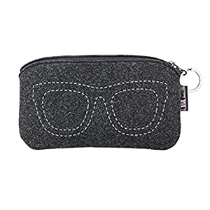 iSuperb Sunglasses Pouch Eyeglasses Bag Storage Travel Case with Keychain 6.9x3.5 inch(Gray)