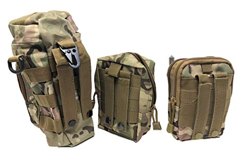 Valtcan Tactical Molle Bags Water Bottle, Mobile Phone, and Camping Hiking Pouches 3 Pack Set by Valtcan (Image #2)