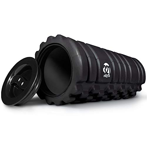 (321 STRONG Foam Roller for Muscle Massage with End Caps - Store Keys, Towels, and Other Accessories - Black)