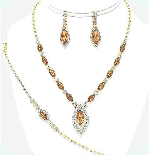 Jonquil Yellow Gold Rhinestone Crystal Jewelry Set Earring Bracelet For Women