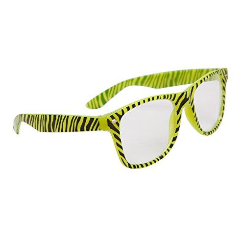 Zebra Print Glow In The Dark Wayfarer Style Clear Lens Glasses /Sunglasses (Yellow)