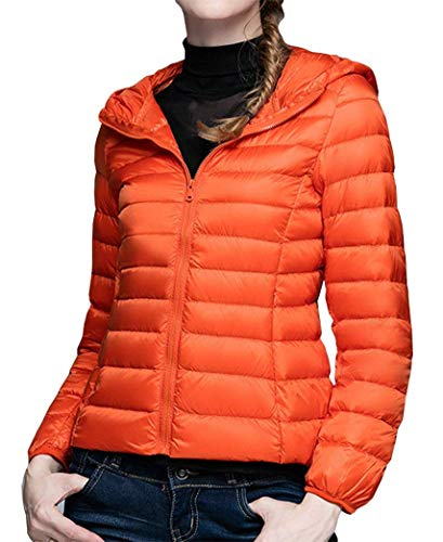 Coat Color Jacket Quilted Coat Special Lightweight Fit Orange Down Autumn Short BoBoLily Sleeve Hooded Slim Winter Solid Packable Down Ladies Style Long TRx8q5