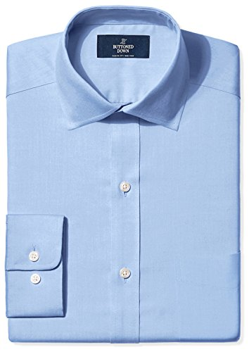 BUTTONED DOWN Men's Classic Fit Spread-Collar Non-Iron Dress Shirt (Pocket), Blue, 17.5
