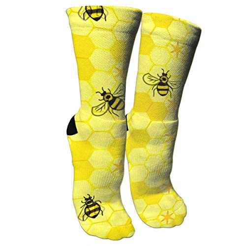 ULQUIEOR Women's Honeycomb Stars Bees Performance Cotton Cushioned Funny Novelty Athletic Crew Socks