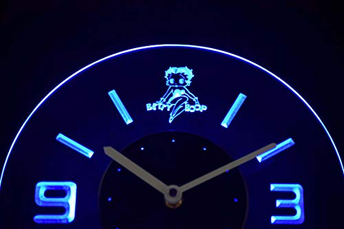 Betty Boop Neon Clock - Time2LightUp Betty Boop 10 Inches Circle Led Illuminated Wall Clock Blue