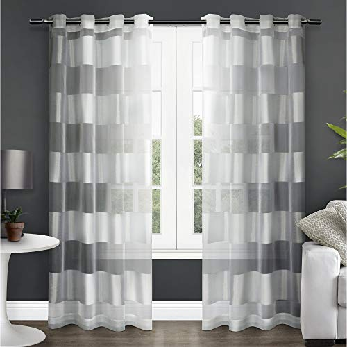 Exclusive Home Curtains Navaro Striped Sheer Window Curtain Panel Pair with Grommet Top, 54x84, Winter White, 2 Piece