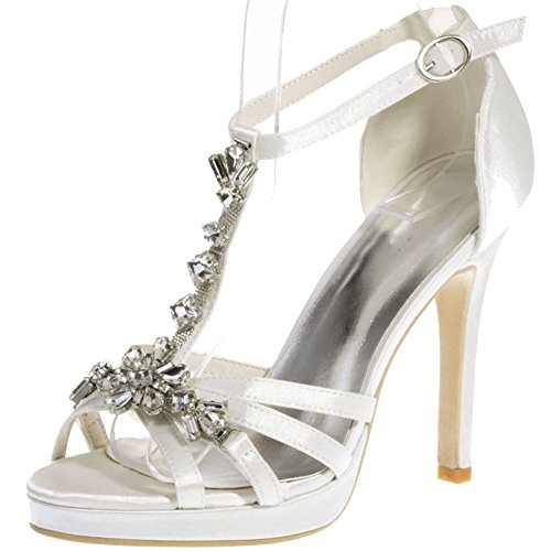 LOSLANDIFEN Womens T-Strap Sandals Crystal-Encrusted Stain High Heels Wedding Party Shoes Ivory 7fTJYE
