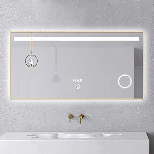 浴室用化粧鏡 LEDバスルーム拡大鏡ライト照明付きバスルーム壁取り付けバニティミラーとフォグレスとシェービングメイクアップ化粧品