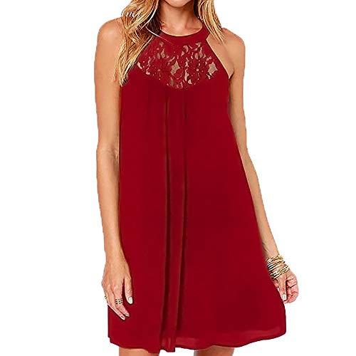 Fudule Women's Dress Women Casual Floral Chiffon Shirt Dress Tops Solid Lace Stitching O-Neck Sleeveless Chiffon Mini ()