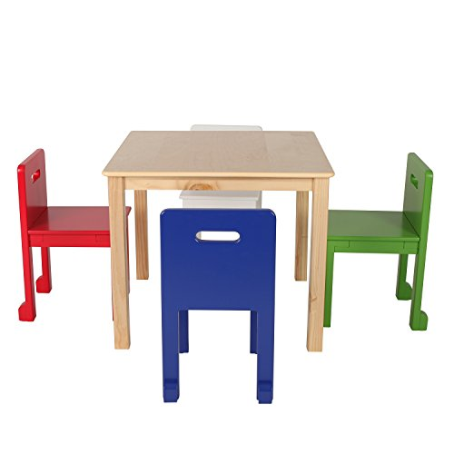 Max & Lily Natural Wood Kid and Toddler Square Table Set with 4 Colored Chairs by Max & Lily