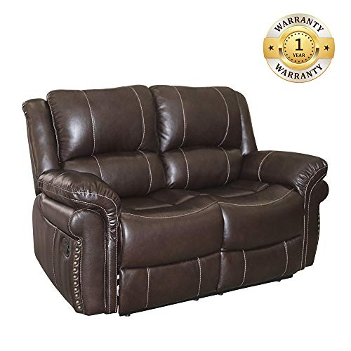Windaze Recliner Love Seat, Manual Modern Bonded Leather Double Reclining Sofa for Living Room Brown
