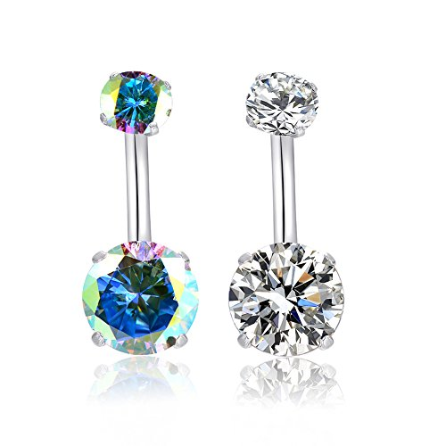 HQLA 14G 316l Surgical Stainless Steel Belly Navel Button Rings with Dangling Sparkly AAA Cubic Zirconia, Screw Bar Design Body Piercing (Clear + AB Colour)