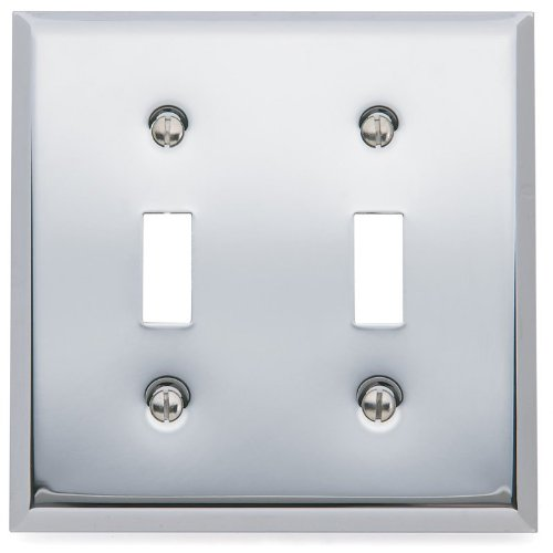 Baldwin 4761260 Beveled Edge Solid Brass Double Toggle Switchplate, Polished Chrome -