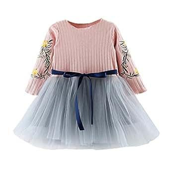 Vestido Bebe Niña, K-youth® Venta caliente 2018 Ropa Bebe Niña Vestido Bebe Chica Bowknot Jerseys Patchwork Vestidos de Fiesta Princesa Tutú Para 0-3 años (Rosa, 0-9 meses)