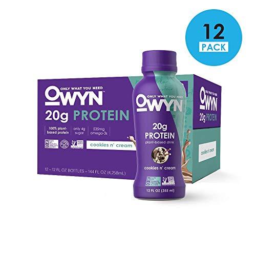 OWYN, Vegan Protein Shake, Cookies N Cream,12 Fl Oz (Pack of 12), 100-Percent Plant-Based, Dairy-Free, Gluten-Free, Soy-Free, Tree Nut-Free, Egg-Free, Allergy-Free, Vegetarian, Kosher ... (Kosher Cream)
