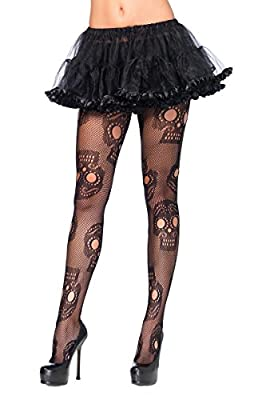 Leg Avenue Women's Plus-Size Plus Sugar Skull Net Pantyhose