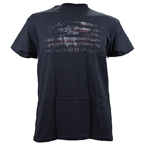 Chevy Chevrolet with American Flag Distressed Vintage Faded Print on a Black T Shirt Medium