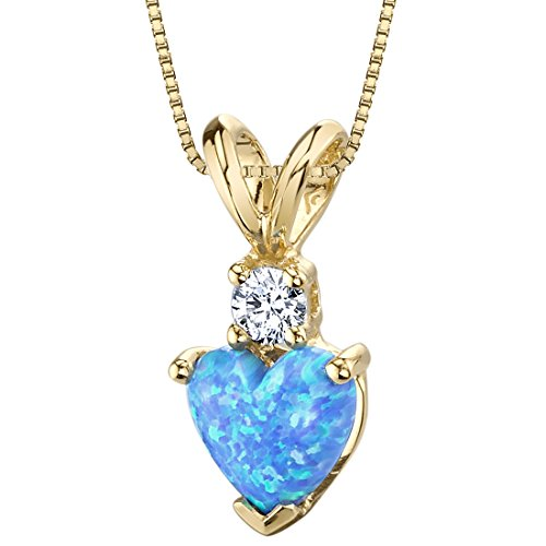 14 Karat Yellow Gold Heart Shape Created Blue Opal Diamond Pendant (Diamond Shape Diamond Pendant)