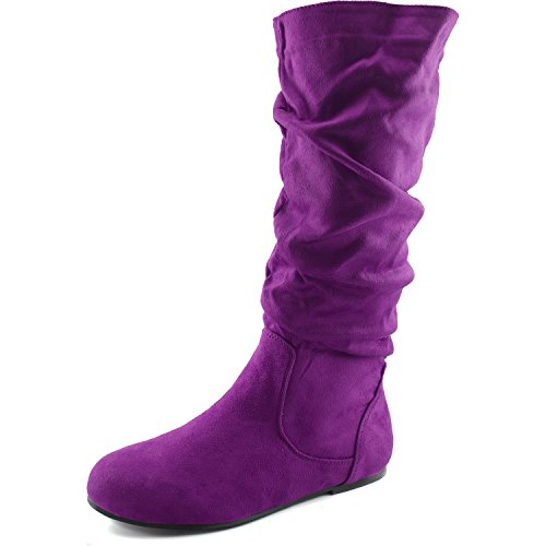 (Women's Mid Calf Slouch Faux Suede Comfortable Slip On Round Toe Flat Heel Knee High Boots Fashion Shoes, Purple Seude, 5)