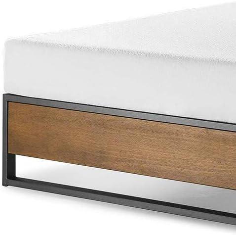 ZINUS GOOD DESIGN Award Winner Suzanne 14 Inch Metal and Wood Platforma Bed Frame / No Box Spring Needed / Wood Slat Suport, Brown, Queen 41D 1s26HZL