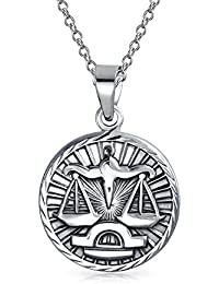 Large Libra Zodiac Medallion Pendant Sterling Silver Necklace 18 Inches