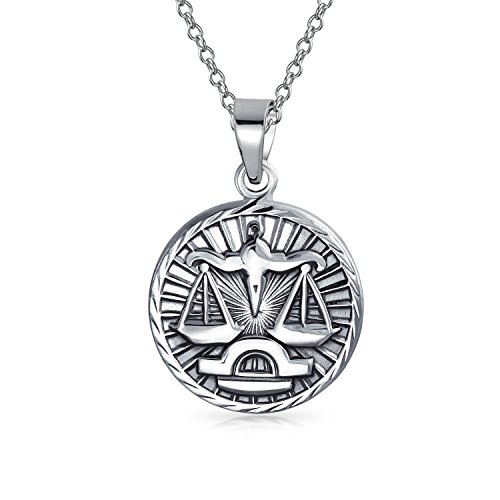 Bling Jewelry Large Libra Zodiac Medallion Pendant Sterling Silver Necklace 18 - Zodiac Pendant Large