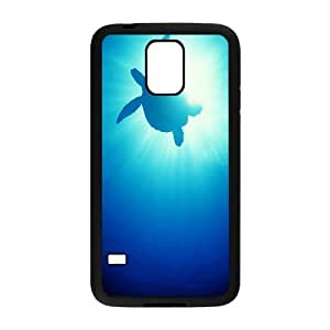 Samsung Galaxy S5 Case Turtle in the Blue Sea, Samsung Galaxy S5 Case Sea Creature Protective Cute For Girls, [Black]