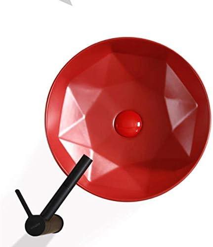 洗面ボウル 北欧のシンプルな赤いダイヤモンドの上カウンター磁器洗面化粧台のシンクアート盆地 浴室の台所の流し (Color : Red, Size : 40.5x40.5x14.5cm)