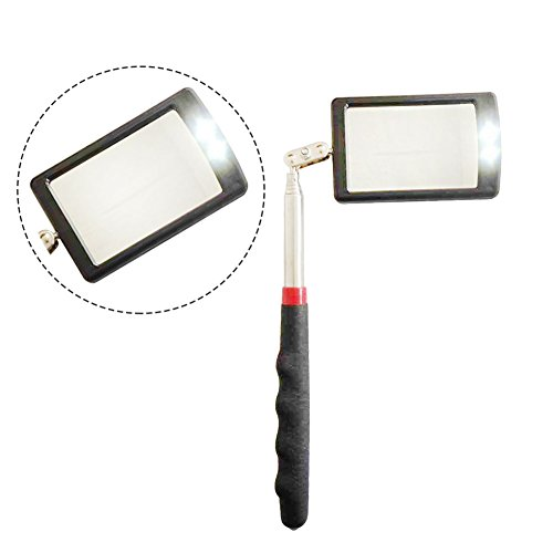 HARDK Telescoping Inspection Mechanics Mirror 360 Swivel LED Lighted for Extra Viewing Dead Angle by HARDK