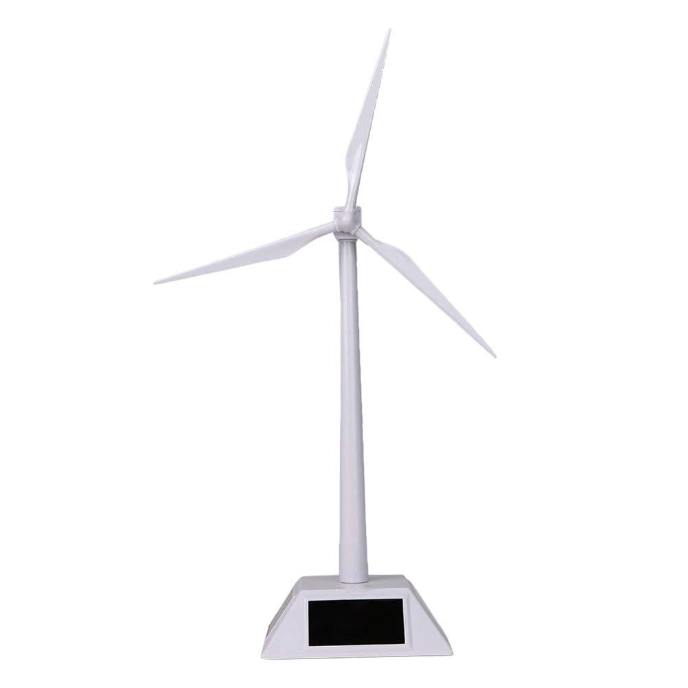 Toyvian Desktop Wind Turbine Model Solar Powered Windmills for Education Fun (White) by Toyvian