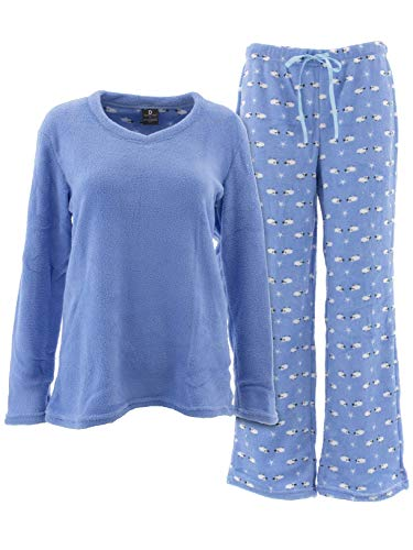 Donna L'oren Women's Sheep Blue Fleece Pajamas 2X 2x Large Polyester Fleece