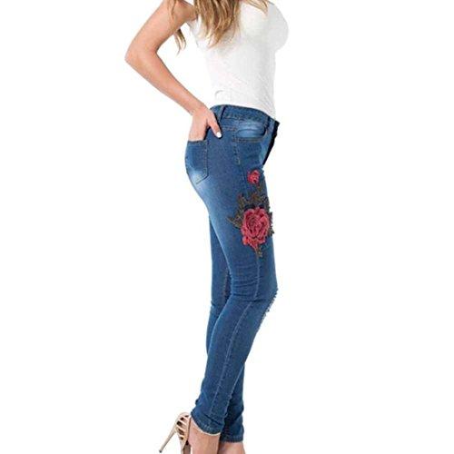 Fit Dame Treggins Streetwear Jeans Rose Tendance Fleur Printemps Femme Crayon Battercake Taille Et Pantalons Mode Blau Moyen Jeggings Dchir Broderie Longues Casual Slim Swag fqZSFPw