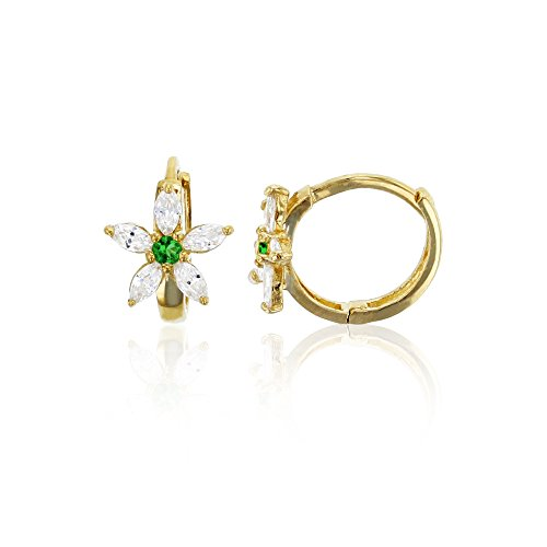 (14K Yellow Gold 8x10mm Clear and Green Emerald CZ Flower Huggie Earring)