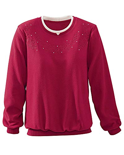 Alfred Dunner Floral Anti-Pill Pullover, Red, Medium