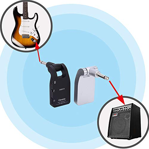 Getaria 2.4GHZ Wireless Guitar System Built-in Rechargeable Lithium Battery Digital Transmitter Receiver for Electric Guitar Bass (Black) by Getaria (Image #2)