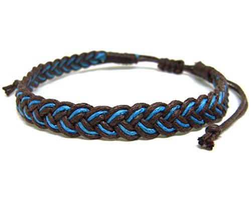 Unique Asian Handmade Plait Bracelet Fashion Brown Blue Cotton String Wristband