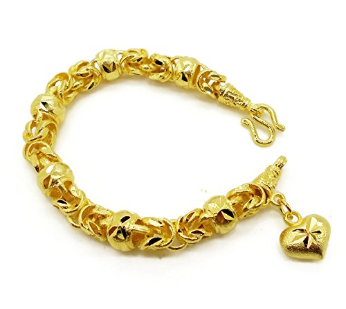 Gorgeous Heart Charm Thai Baht Yellow Gold Plated Filled Bangle 23k 24k Bracelet Jewelry 7 inch ()