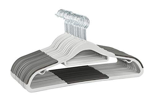 (Finnhomy Bar Design Heavy Duty 50 Pack Plastic Hangers, Durable Clothes Hangers with Non-Slip Pads, Great for Shirts, Pants, Scarves, Strong Enough for Coat, Gray)