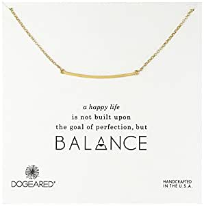 """Dogeared Balance Large Curved Bar Gold Dipped Necklace, 18"""""""