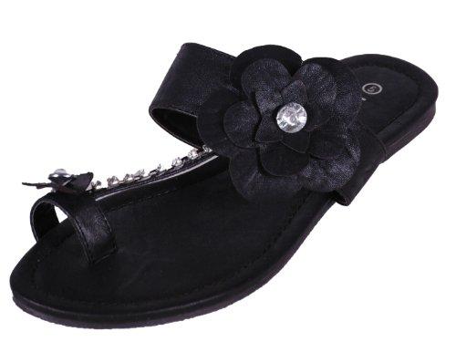 EyeCatchShoes - Womens Flower Flat Slip on Zehentrenner Sandalen Schwarz
