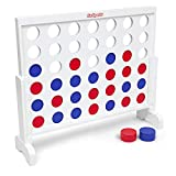 GoSports Giant Wooden 4 in a Row Game - 3 foot Width - With Coins, Portable Case and Rules (Renewed)