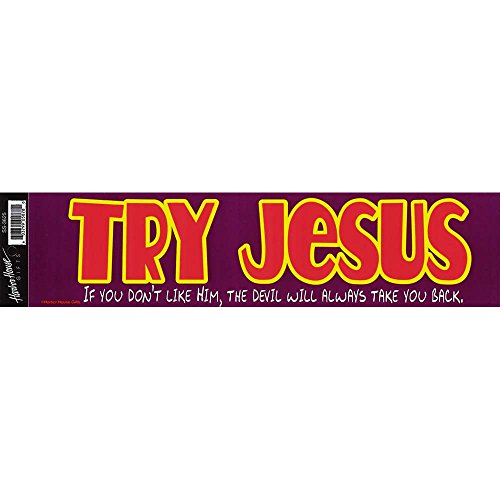 Try Jesus Don't Like Him Devil Take You 13 x 3 Inch Mylar Adhesive Car Bumper Stickers Set of 6
