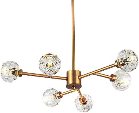 SEOL-LIGHT Retro Brass Sputnik Crystal Ball Shade Semi Close to Ceiling Light Flush Mounted Branches Chandeliers Polished Gold with 6 Light 240W Small Size 22 Dia